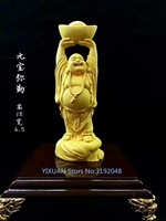 TNUKK Maitreya Buddha statue, boxwood wood carving big belly laugh Buddha car Ornament Gift Crafts.