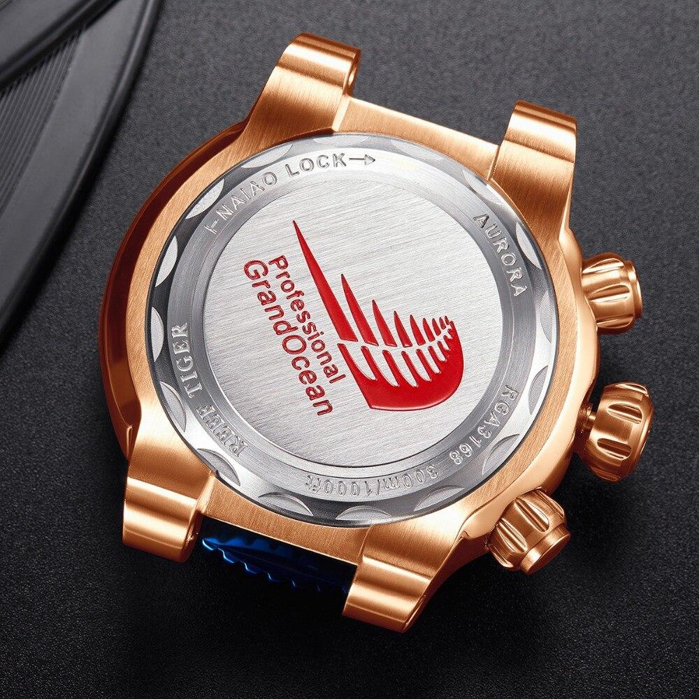 Riff Tiger/RT Top Marke Luxus Blau Sport Uhr für Männer Rose Gold Wasserdicht Uhren Rubber Strap Relogio Masculino RGA3168 - 6