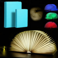 Creative Foldable Pages Led Book Shape Night Light Lighting Lamp Portable Booklight Usb Rechargeable Small Big