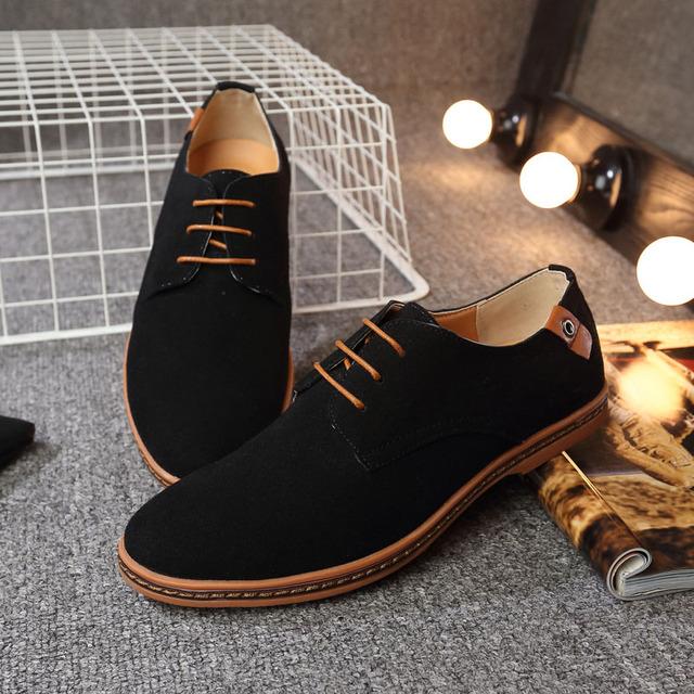 REETENE Big Size 38-48 Casual Shoes Men Fashion Flock Men Casual Shoes High Quality Suede Casual Men Shoes Spring Men Sneakers