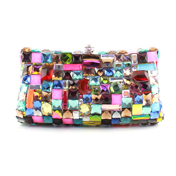 Women Evening Multi Bags Ladies Fashion Crystal Glass Clutches Female Colourful Party Bag(1019-HC)