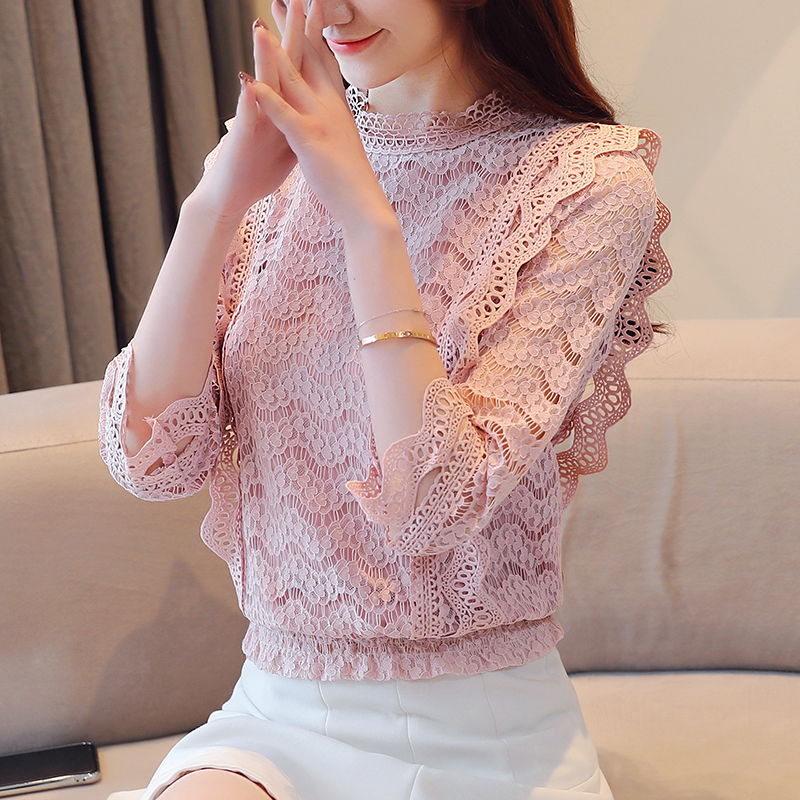 Pengpious fashion new autumn lace blouse for office lady long sleeves beautiful women lace shirt women