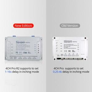 Image 4 - Itead Sonoff 4CH Pro R2 433mhz 4 canaux Gang RF sans fil à distance Wifi commutateur intelligent interverrouillage relais Alexa Google Home