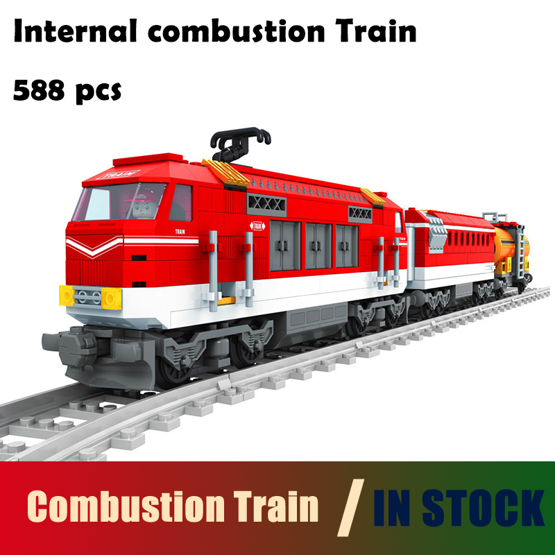 Compatible with lego Transportation Building Block Sets Internal combustion Train 3D Construction Bricks Educational Hobbies Toy internal combustion engines