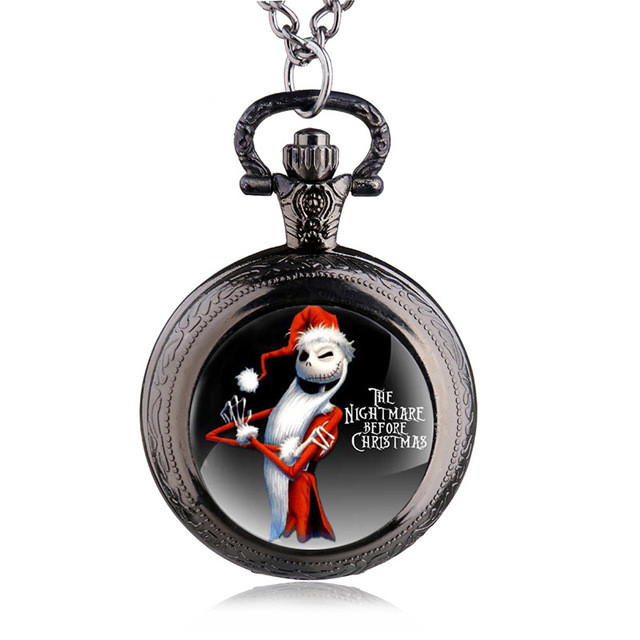 Antique Black Nightmare Before Christmas Theme Pocket Watch Vintage Steampunk Pe