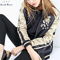 Bomber Jacket Women 2017 Spring New Fashion Crane Flower Embroidery Luxury Zipper Two Side Wear European Style Outwear Tops
