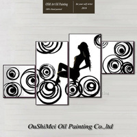 Top Artist Handmade High Quality Modern Abstract Black and White Portrait Oil Painting on Canvas Modern Wall Art Nude Painting