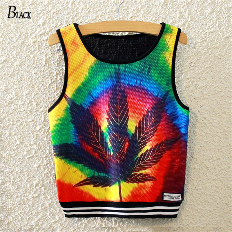 Black Brand 2019 Harajuku Women Sexy Crop   Tops   Bustier Color Leaves Printed   Tank     Tops   Casual Sleeveless Harajuku Vest