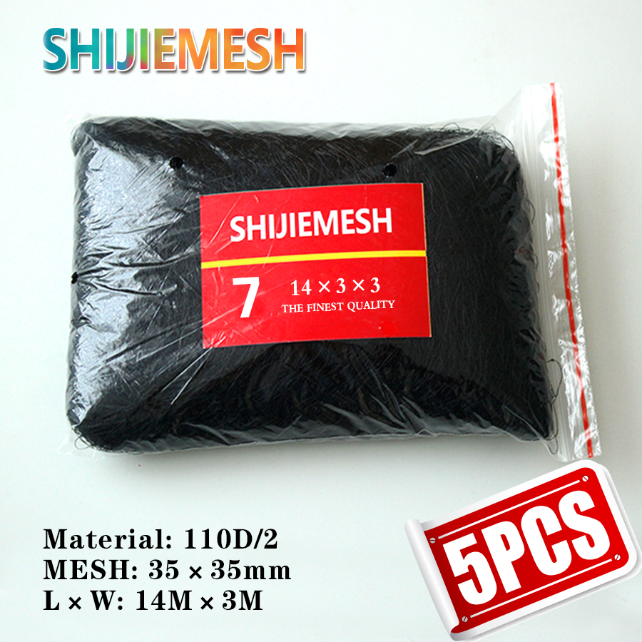 High quality 14M x 3M 35mm Mesh Bird net Polyester 110D/2 Bat net Bat trap Anti Bird Mist Net 5pcs title=