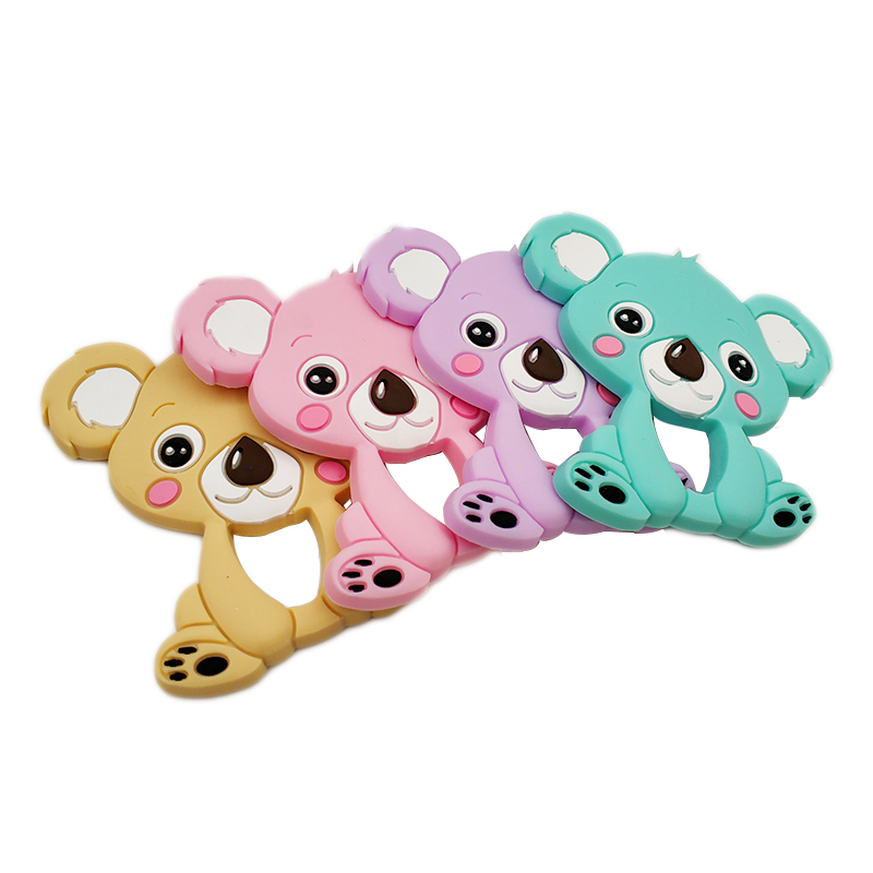 Bite Of Food Grade Silicone Diy Animal Koala Baby Teether Chewing Ring Silicone Baby Teething Toys Gift For Kids Children Charms
