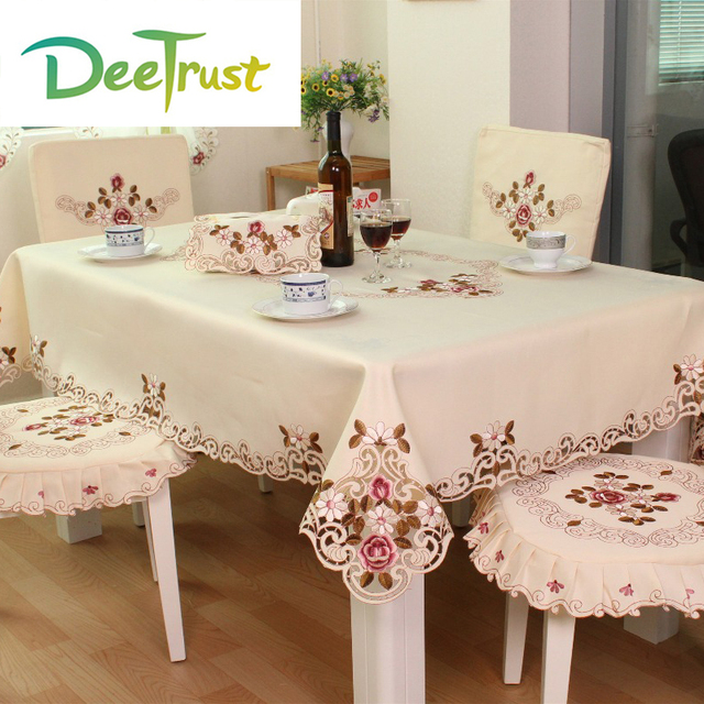 Pastoral Luxury European Round/Rectangle Table Cloth With Embroidery Lace  Edge Polyester Square Table Cover