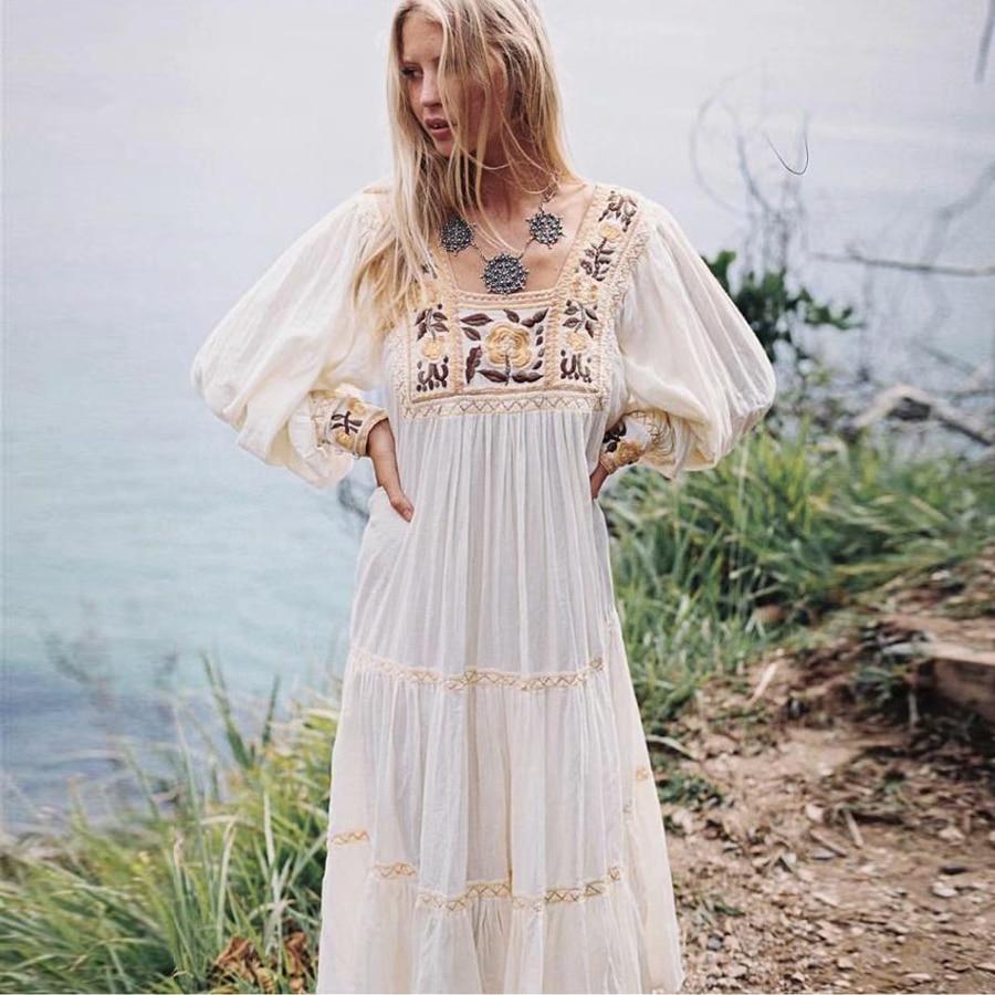 TEELYNN tunic white dress 2019 floral embroidery long sleeve beach summer dresses loose Gypsy boho women