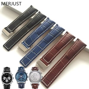 MERJUST Genuine Leather Watch Band Strap Black Brown Blue Soft Watchbands for Breitling Watch Man Watch 22mm 24mm with Tools