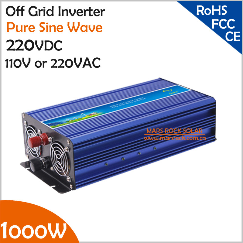 1000W 220VDC to 110V/220VAC Off Grid Pure Sine Wave Single Phase Solar or Wind Power Inverter, Surge Power 2000W d288 to 220