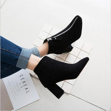 2019 Spring Autumn Women Butterfly-knot Chelsea Boots Slip-On Med High Heels Pointed Toe Shoes Woman недорого