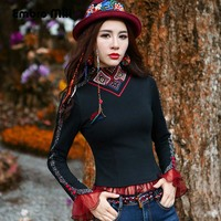 Embro Mill High end women blouse undershirt autumn Chinese style black slim lady print floral lace bace shirt top M XXL