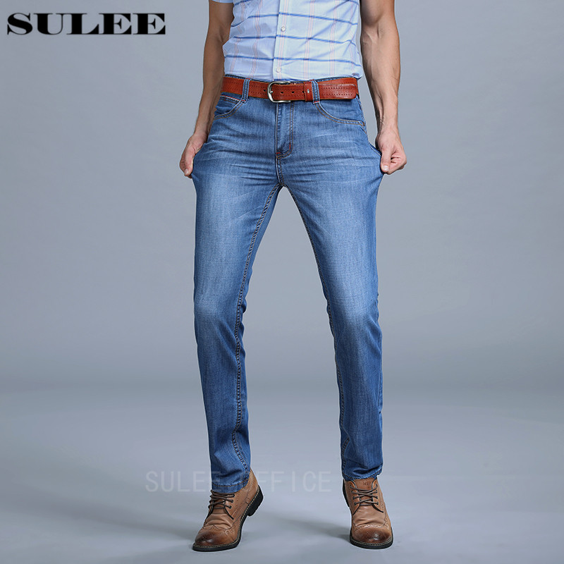 Sulee Brand Boutique Men Jeans Stretch Light Blue Slim Straight Denim Embroidered Pants Cotton Wholesale Sulee Brand Jeans