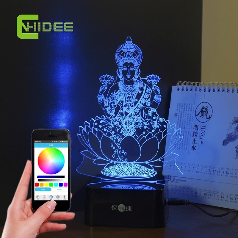 Creative Gifts USB Music Lamp India Lakshmi Goddess 3D LED Table Lamp Lampade...