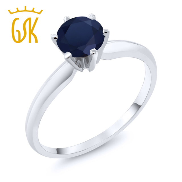 7f1113753 GemStoneKing 1.00 Ct Natural Blue Sapphire 14K White Gold Solitaire Wedding  Engagement Rings For Women Fine