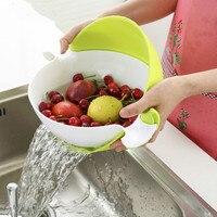 Trang trí Quay Đôi Giỏ Cống Creative Kitchen Nhựa Trái Cây Bát Cống Nước Basket set của 2 (Màu Xanh và Màu Xanh Lá Cây)