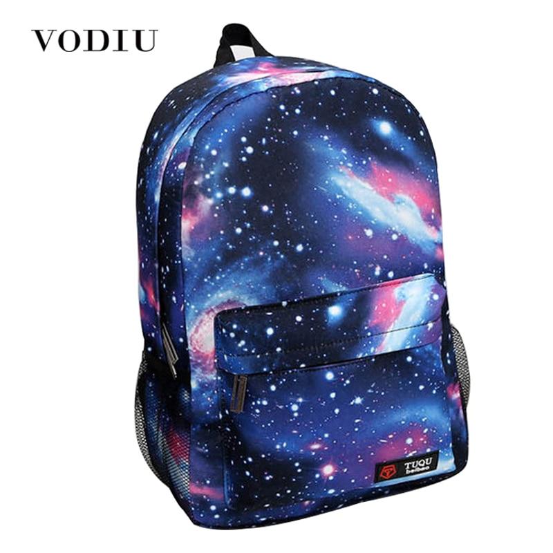 Harajuku Style Galaxy Cosmos Zipper Canvas Women Men Backpacks Printing School Bags Teens Girls Boys Travel Large Mochila