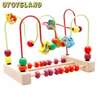 UTOYSLAND Counting Traffic Bead Wire Maze Roller Coaster Wooden Educational Toy For Baby Kids Chilrden Color