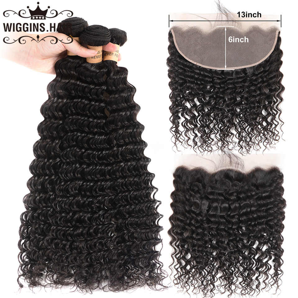 13x6 Lace Frontal With Bundles Deep Wave 3 Bundles With Frontal Wiggins Hair Bundles Brazilian Remy Human Hair Natural Color