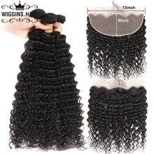 13×6 Lace Frontal With Bundles Deep Wave 3 Bundles With Frontal Wiggins Hair Bundles Brazilian Remy Human Hair Natural Color