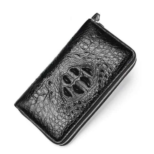 401d1f0256 Two Zippers Closure Design Genuine Crocodile Skin Businessmen Man Day  Clutches Purse Alligator Leather Male Large