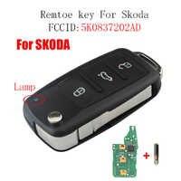 3 Bottoni A Distanza di chiave Dell'automobile Per Skoda Fabia Superb Roomster 2002-2011 Per Skoda 5K0 837 202 AD 202AD transponder ID48 Circuito Integrato