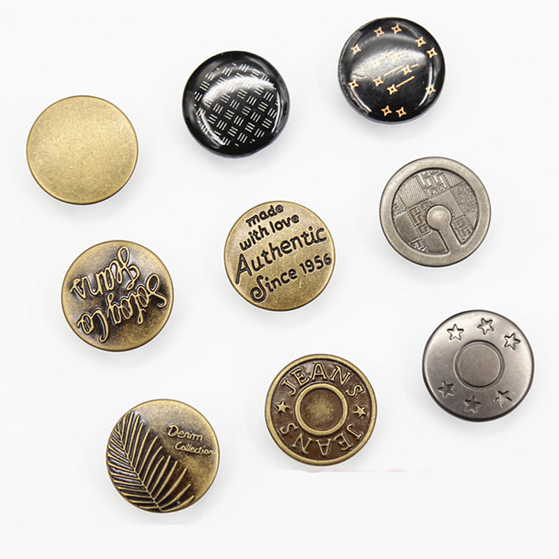 Wholesale 50Pcs 20mm Black Jeans Buttons Mixed Style Metal For Jeans Fasterners