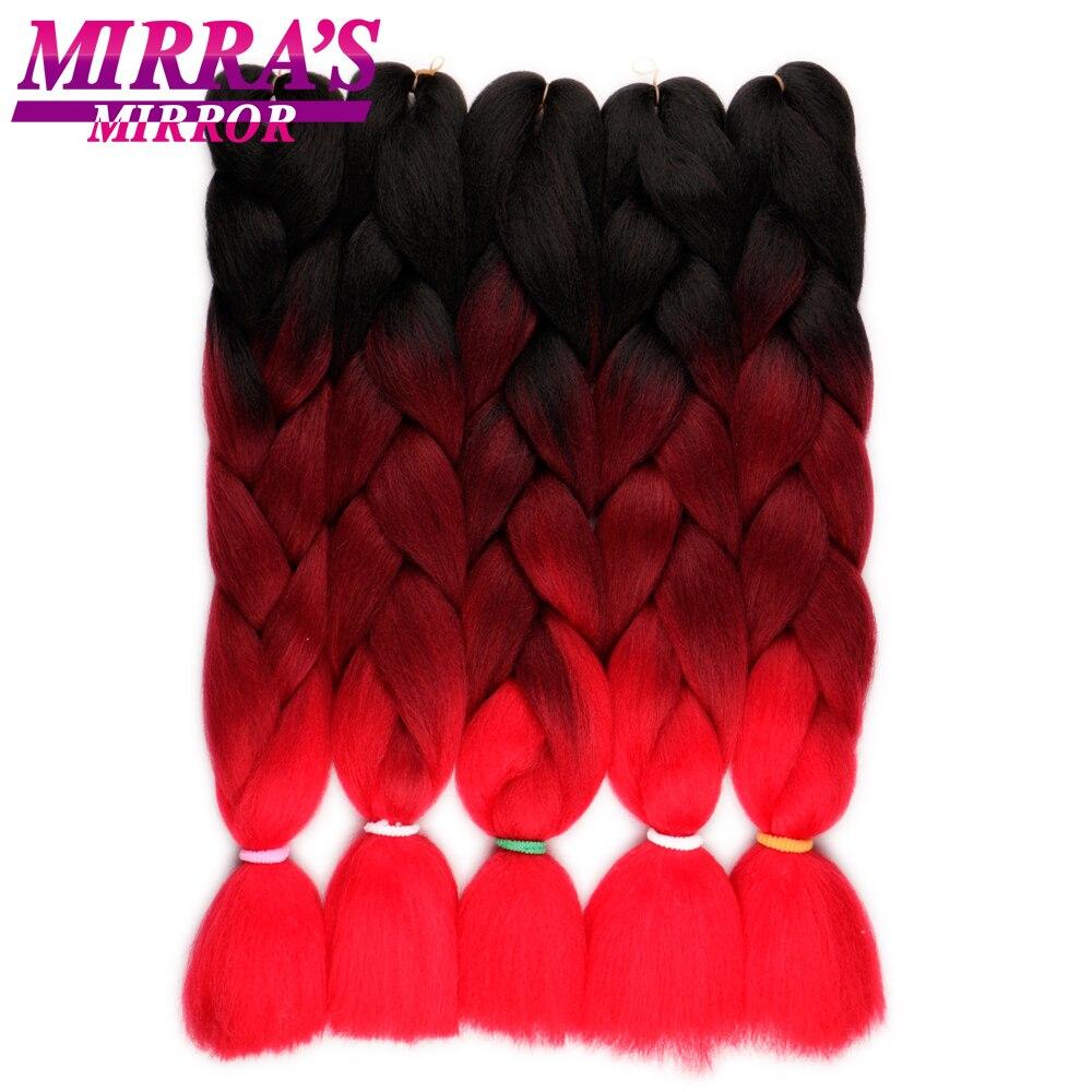 Espelho da Mirra Crochê Ombre Cabelo Trança de Cabelo Jumbo Tranças Extensões de Cabelo Sintético Para Tranças Marrom Vinho Tinto 24