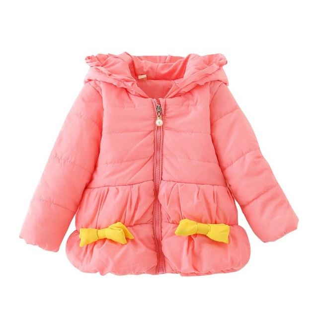 New Winter Hooded Baby Girls Coat Sweet Bow Jacket Cotton Outwear Infant Kids Cloting For 0-24M Toddler DH