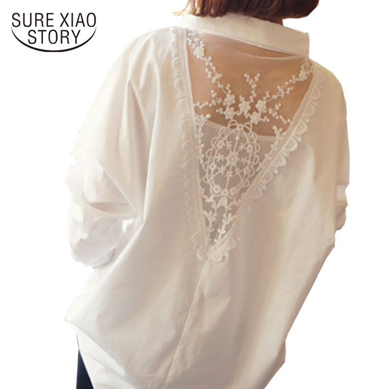 Tops Blusas 2018 Korean Fashion Women Shirt Sexy V-neck White Blouse Long Sleeve Lace Ch ...