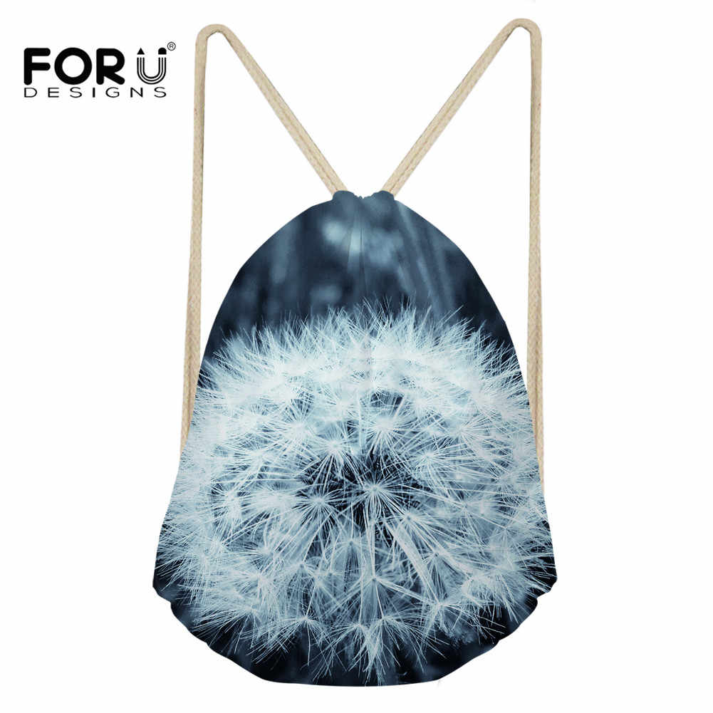 FORUDESIGNS 2019 nueva mochila de moda para mujer, con estampado de diente de león en 3D, bolsa de viaje informal con cordón suave para niña, bolsa de almacenamiento escolar