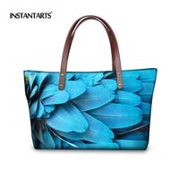 INSTANTARTS Casual Women Large Handbag Unique Animal Peacock Feather Print Ladies Neoprene Tote Shoulder Bags Female Travel Bags