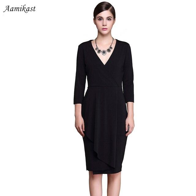 Aamikast Women Black Ruffle Summer V-Neck Dresses Elegant Party Pencil  Vestidos 4XL Plus Size Ladies Formal Work Dress 7a83a5e559bf