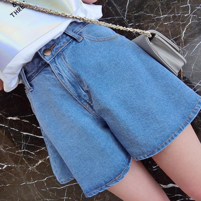 Mulher calções de verão 2016 shorts jeans de cintura alta soltas calças de pernas largas saia aberta calções KB1046