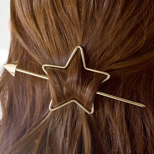 1pc Women Vintage Design hollow Out Pentagram Love Heart Arrow Hair Sticks Gold Plated Simple Star Hair Holder Hair Accessories vintage pentagram hollow out bead necklace for women