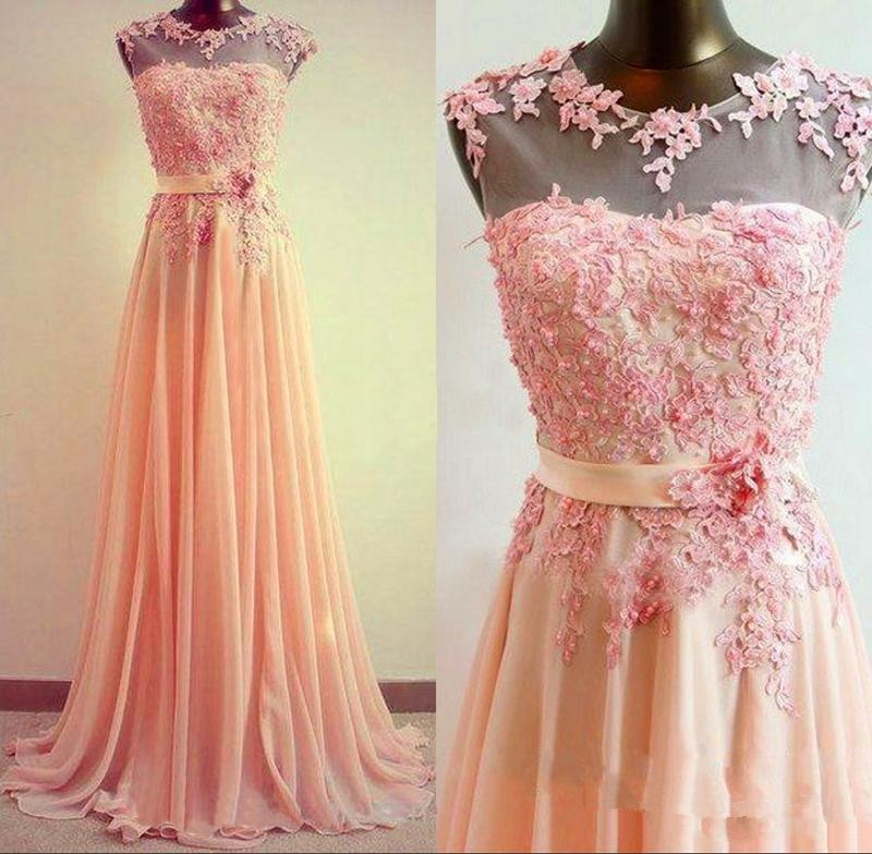 2018 Long Prom gown With Pearl Beaded Lace Applique Blush Cheap Sleeveless Formal Party Gown robe de soiree   bridesmaid     dresses