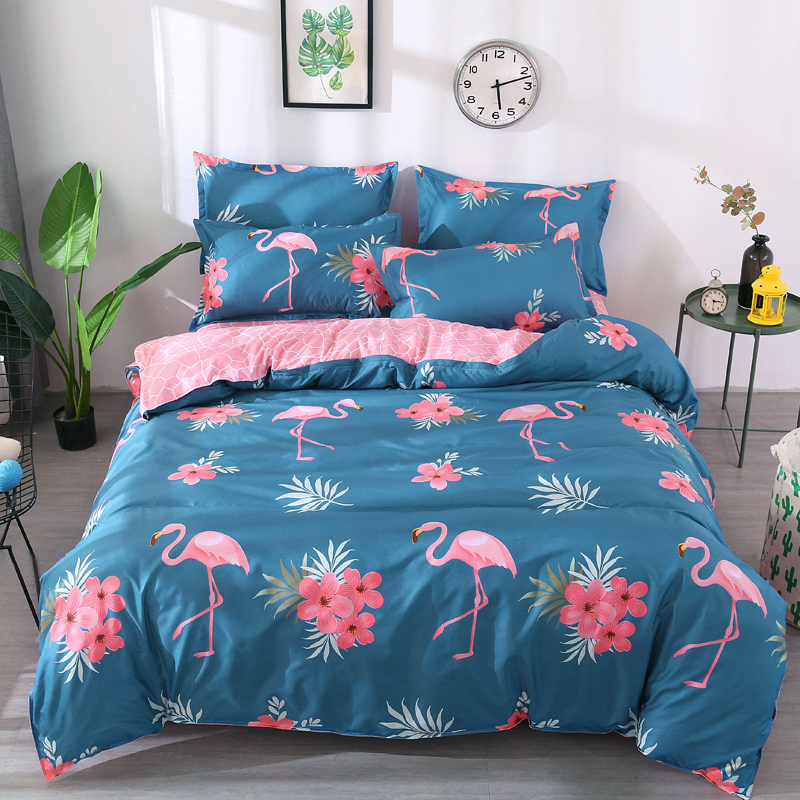 Flamingo Bedding Set Tropical Plant Quilt Cover Queen Full
