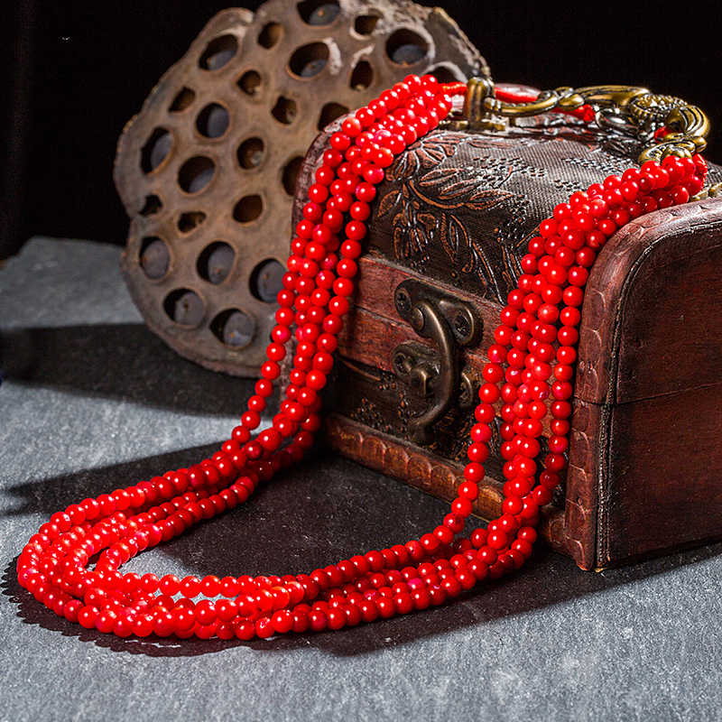 Fashion Accessories Natural Red Coral 4mm Bead Necklace Handwoven Multi-layer Necklace for Wife and Mother's day Gift