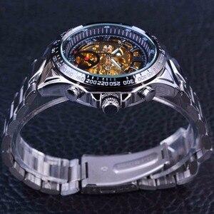 Image 4 - Kazanan klasik serisi altın hareketi çelik erkek İskelet erkek kol saati mekanik üst marka lüks moda otomatik saatler