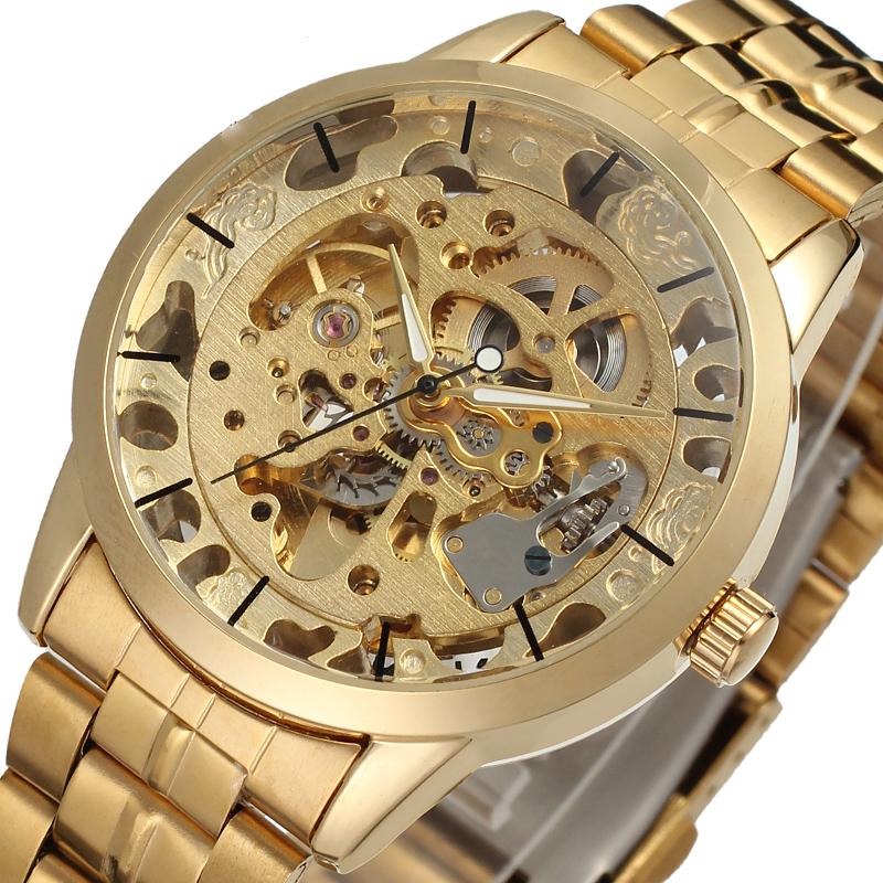 Prix pour Luxe hommes or acier pleine transparente montre squelette automatique mécanique montres Steampunk horloge hommes Relogio Masculino 2016