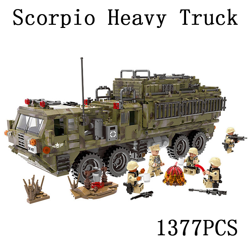 city Lepins World War Military Army Scorpio Heavy Truck Building Block Bricks Toys Model kits gift for childre