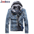 JOOBOX Men's Branded Designer Jackets Winter Fleece Jeans Jacket Men Fake Two Pieces Hooded Denim Coats trench coat men (FY005)