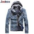 Joobox diseñador de la marca de los hombres chaquetas de invierno polar chaqueta de jeans hombres falso de dos piezas de mezclilla encapuchados abrigos de trinchera hombres de la capa (FY005)