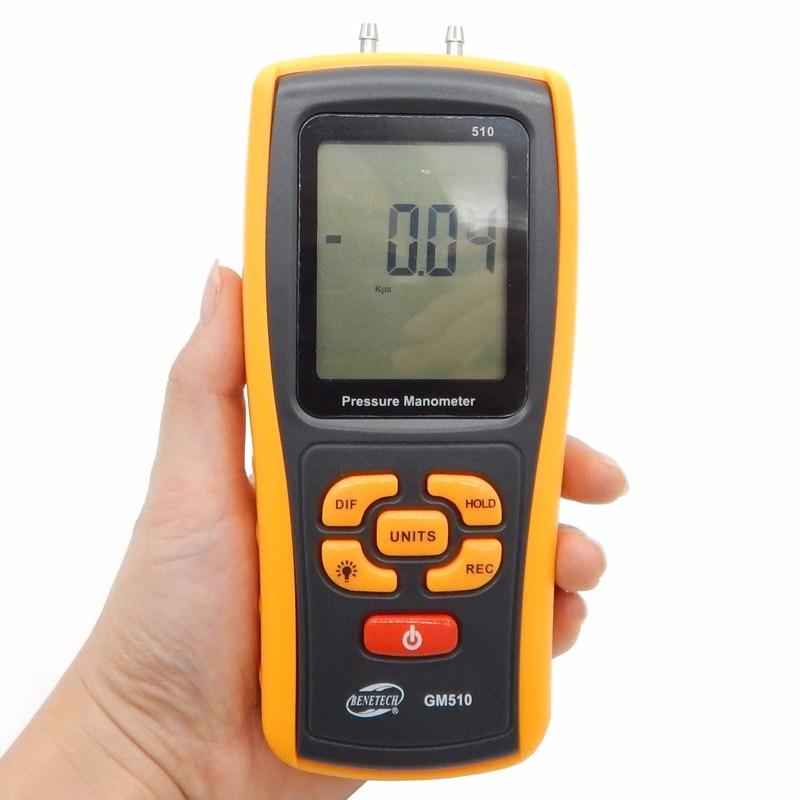 ФОТО GM510 Handheld Digital Pressure Meter Manometer +/- 10kPa Pressure Gauge Tester USB Manometro