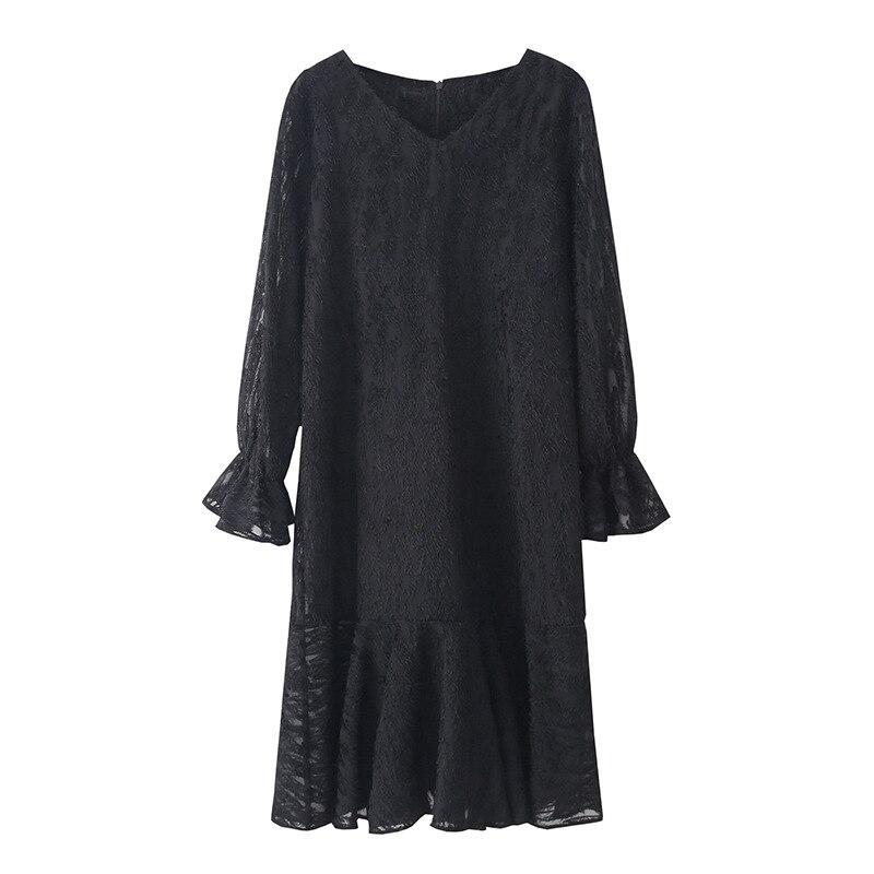 2019 New Spring Straight Ladies Dresses Black Long Sleeve V Neck Flare Sleeve Dress Elegant Party Dress Plus Size 5XL