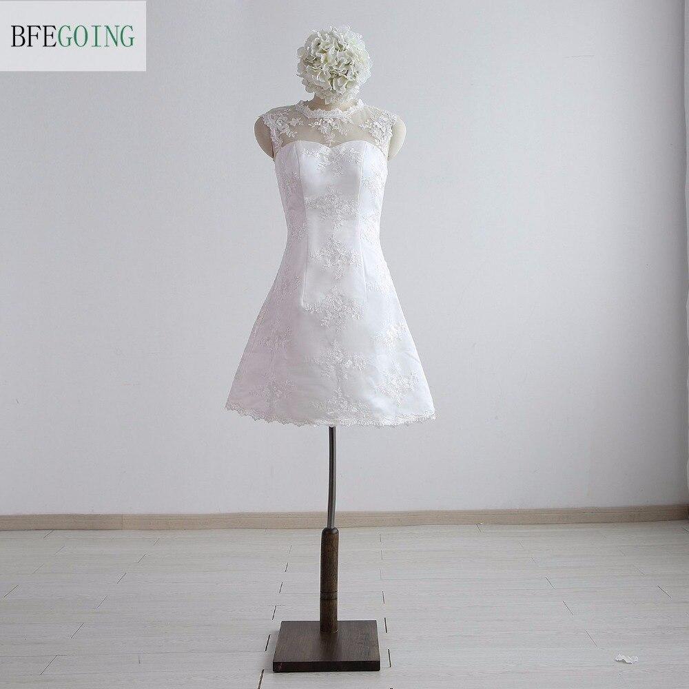 White Lace A-line Formal   Bridesmaid     Dress   Knee-Length Sleeveless Real/Original Photos Custom made